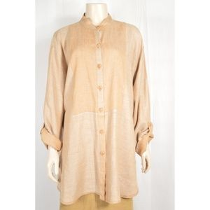 FLAX Engelhart top tunic jacket SZ M tan long long